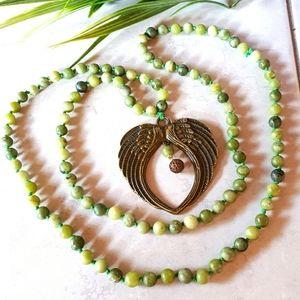 Jade Beads Antique Bronze Wings Long Necklace